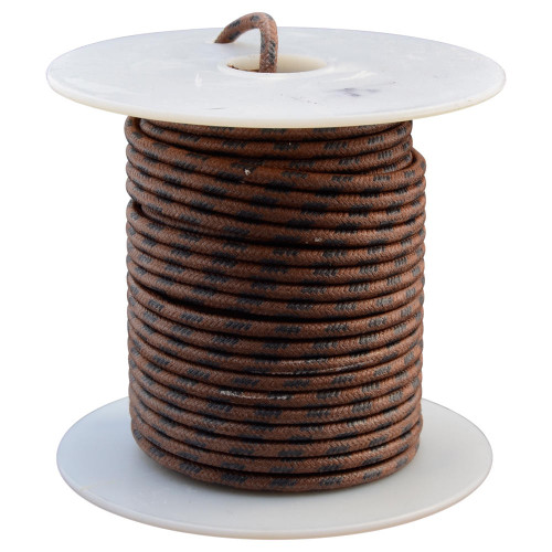 Throttle Addiction 16 AWG Vintage Cloth Covered Wire - Brown with 4 Black Tracers - 10 FT