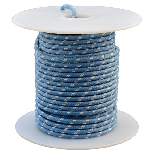 Throttle Addiction 16 AWG Vintage Cloth Covered Wire - Blue with 2 White Tracers - 10 FT