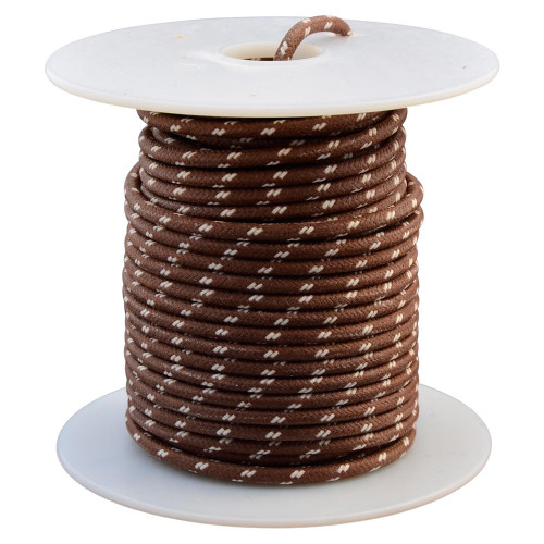 Throttle Addiction 16 AWG Vintage Cloth Covered Wire - Brown with 2 White Tracers - 10 FT