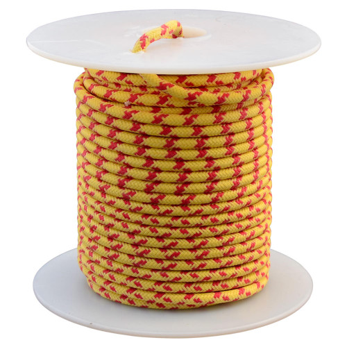 Throttle Addiction 16 AWG Vintage Cloth Covered Wire - Yellow with Crossing Red Tracers - 10 FT