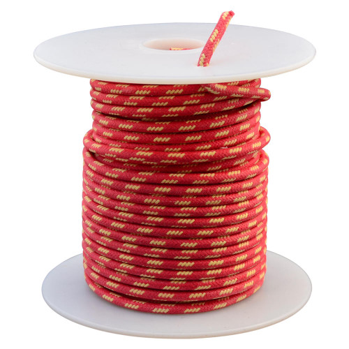 Throttle Addiction 16 AWG Vintage Cloth Covered Wire - Red with 4 Yellow Tracers - 10 FT