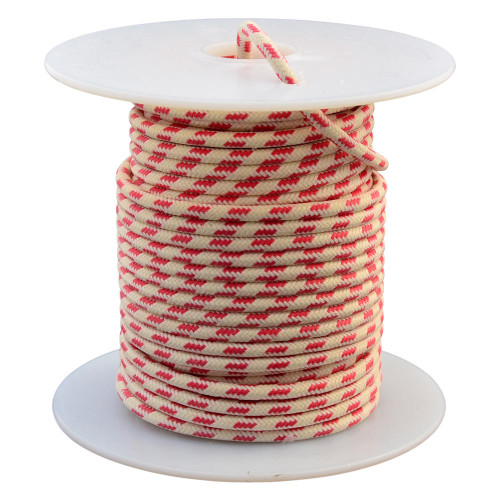 Throttle Addiction 16 AWG Vintage Cloth Covered Wire - White with 3 Red Tracers - 10 FT