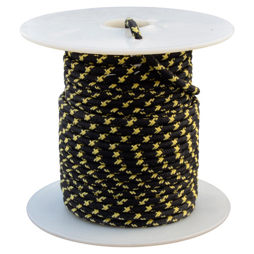 Throttle Addiction 16 AWG Vintage Cloth Covered Wire - Black with 2 Crossing Yellow Tracers - 10 FT
