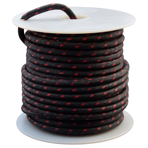 Throttle Addiction 12 AWG Vintage Cloth Covered Wire - Black with 2 Red Tracers - 10 FT