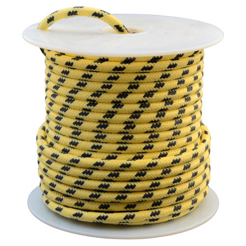 Throttle Addiction 12 AWG Vintage Cloth Covered Wire - Yellow with 3 Black Tracers - 10 FT