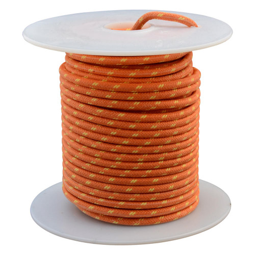 Throttle Addiction 16 AWG Vintage Cloth Covered Wire - Orange with 2 Yellow Tracers - 10 FT