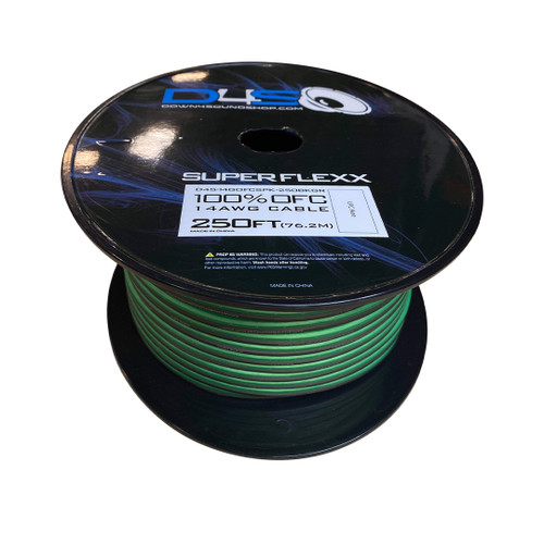 """Down4Sound  250"""" 14G OFC Speaker Wire (Lime Green&Black)"""