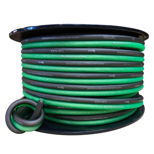 Down4Sound 8G OFC Paired Speaker Wire | By The Foot ( Lime Green & Black )