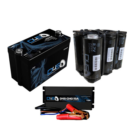 DOWN4SOUND | D4S LTO 6.0 Lithium Battery +  D4S-CHG-15A + 500 SUPERcap Bank Supercharged Package