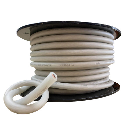 Down4Sound 1ft 4 AWG OFC Tinned Wire (White) By The Foot