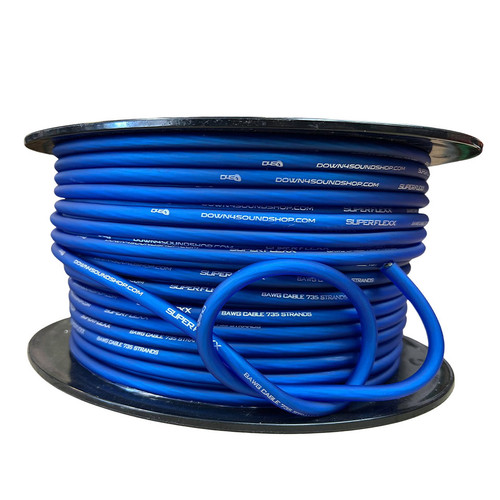 Down4Sound 8 GA Tinned OFC Wire (Blue) - By the Foot