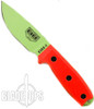 ESEE Knives 3PM-VG Fixed Blade Knife, Venom Green Blade, Orange Linen Micarta Handle