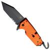 HK 54204 Orange Karma Rescue Tanto Flipper Knife, 154CM Black Combo Blade