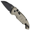 Hogue Knives 24147 Flat Dark Earth A01 Microswitch Wharncliffe Cali-Legal Auto Knife, CPM-154 Black Blade