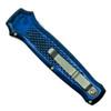 Piranha Blue Prowler Auto Knife, 154CM Stonewash Combo Blade Clip View