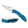 Spyderco Blue Delica 4 Folder Knife, VG-10 Satin Blade