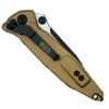 Microtech 160-2TA Tan Socom Elite S/E Folder Knife, Black Combo Blade  Clip View