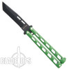 Remington Green Tanto Butterfly Knife, Black Blade