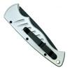 Piranha Silver Pocket Auto Knife, 154CM Black Blade Clip View
