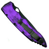 Piranha Plum Mini Predator Auto Knife, CPM-S30V Black Combo Blade Clip View