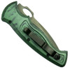 Piranha Green Hybrid Auto Knife, 154CM Black Combo Blade