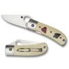 Spyderco C226GP White One-Eyed Jack Folder Knife, CPM-S30V Satin Blade
