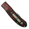 Piranha Red Toxin Auto Knife, 154CM Mirror Combo Blade Clip View