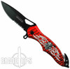 Red Raging Skull Spring Assist Rescue Knife, Black Combo Blade