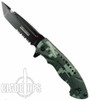 TacForce Military Camo Ops Spring Assist Knife, Black Combo Blade