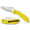 Spyderco C88SYL2 Yellow Salt 2 Folder Knife, H-1 Satin SpyderEdge Blade REAR VIEW