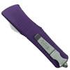 Microtech Purple Troodon Dagger OTF Auto Knife, Stonewash Blade REAR VIEW