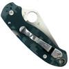Spyderco Custom Blue Camo Para 3 Folder Knife, Satin Blade Back Closed View