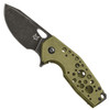 Fox Knives OD Green Suru Flipper Knife, N690 Blade FRONT VIEW
