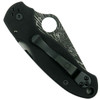 Spyderco Custom Para 3 Folder Knife, Warp Speed Blade Back Closed View