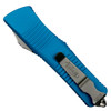 Microtech Turquoise Troodon Dagger OTF Auto Knife, Stonewash Combo Blade Back View