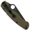 Spyderco Earth Brown Paramilitary 2 Folder Knife, Black Blade Back View