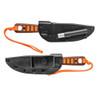 TOPS Hunter's Orange Lite Trekker Fixed Blade Knife, Black Blade SHEATH VIEW
