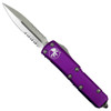 Microtech Violet UTX-85 Dagger OTF Auto Knife, Stonewash Combo Blade Front