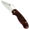 Spyderco Custom Red Camo Para 3 Folder Knife, Bronze Hardware, Satin Blade