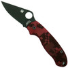 Spyderco Custom Red Camo Para 3 Folder Knife, Black Blade