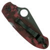 Spyderco Custom Red Camo Para 3 Folder Knife, Black Blade Back