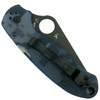 Spyderco Custom Blue Camo Para 3 Folder Knife, Black Blade Back