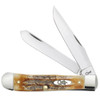 Case Trapper 6.5 BoneStag Folder Knife, Satin Blades FRONT VIEW