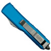 Microtech Turquoise UTX-85 OTF Auto Knife, Satin Combo Blade Back View