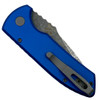 Pro-Tech Blue Textured SBR Auto Knife, Acid Washed Blade Clip Side