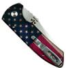 Pro-Tech Vintage Flag SBR Auto Knife, Stonewash Blade Clip View