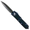 Microtech UTX-85 Dagger OTF Auto Knife, Blue Hardware, Damascus Blade