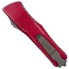 Microtech Distressed Red Combat Troodon OTF Auto Knife, Apocalyptic Stonewash Blade REAR VIEW