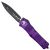 Microtech Purple Combat Troodon Dagger OTF Auto Knife, Black Blade