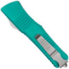 Microtech Turquoise Combat Troodon OTF Auto Knife, Stonewash Combo Blade REAR VIEW